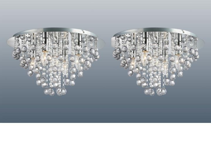 Flush Fitting Chandeliers In Well Liked Pair Of Chrome Round Flush Fitting Chandelier Ceiling Lights Crystal (View 5 of 10)