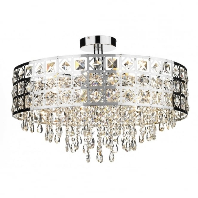 Flush Fitting Chandeliers With Regard To Well Known Large Modern Laser Cut Semi Flush Fitting Circular Crystal Chandelier (View 2 of 10)