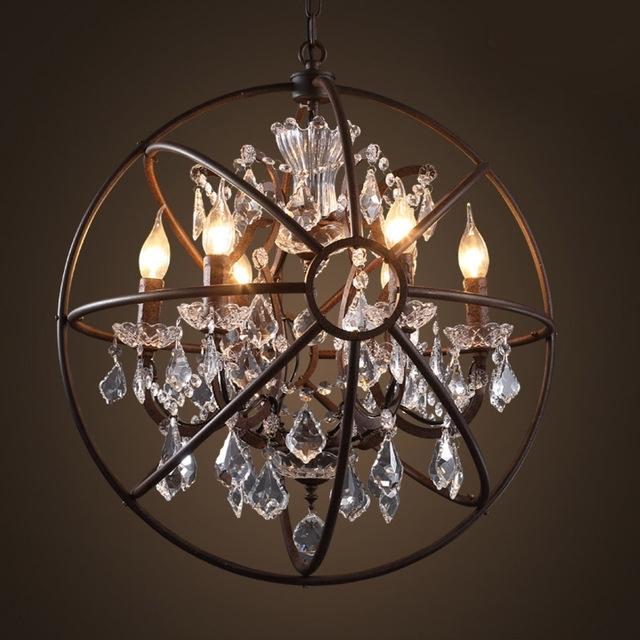 Foucault's Orb Crystal Chandelier Antique Rust Globe Pendant Lamp Regarding Most Current Globe Crystal Chandelier (View 7 of 10)