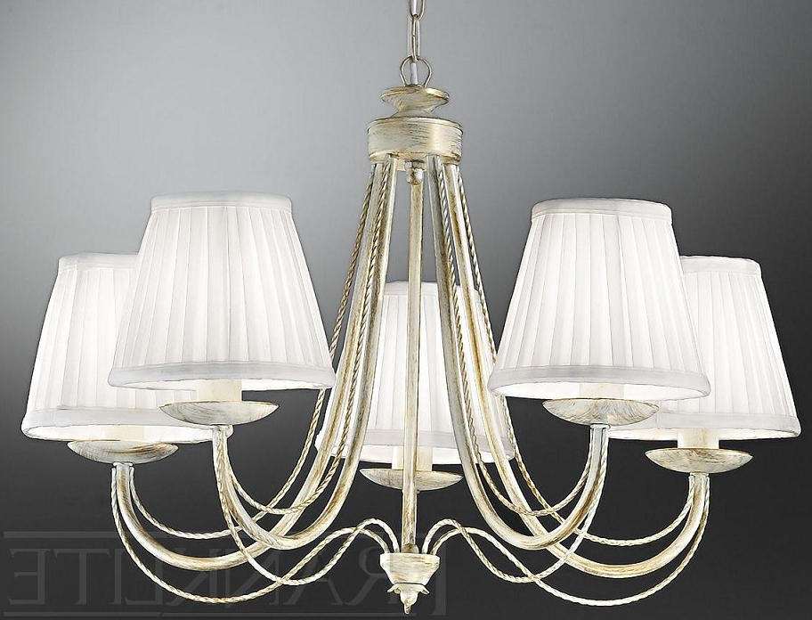 Franklite Philly Cream Gold 5 Light Chandelier With Shades (View 5 of 10)