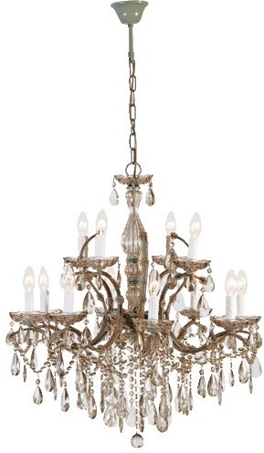 French Glass Chandelier Pertaining To Fashionable Two Tier Smoked Glass Chandelier French Design With Droplets (View 4 of 10)