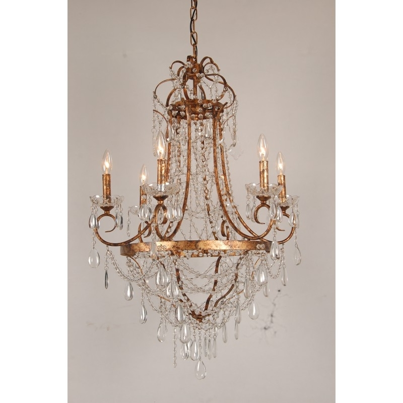 French Gold Chandelier With Regard To Recent European Design French Empire Crystal Basket Chandelier In Antique Gold (View 5 of 10)