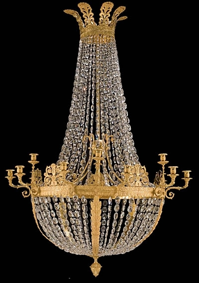 French Style Chandelier Pertaining To Most Up To Date French Empire Style Bronze D'ore And Crystal Chandelier (View 8 of 10)