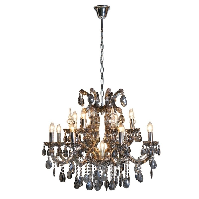 French Style Chandelier With Most Recent Large Smoked Glass Chandelier (View 6 of 10)