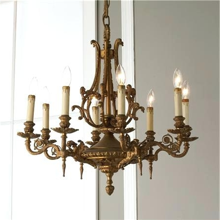 French Vintage Chandelier A French Six Light Carved And Painted Wood Pertaining To Trendy Vintage Style Chandelier (View 4 of 10)