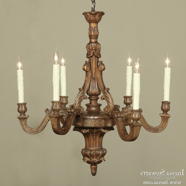 French Walnut Carved Wood Chandelier – Inessa Stewart's Antiques Intended For Most Current French Wooden Chandelier (View 1 of 10)