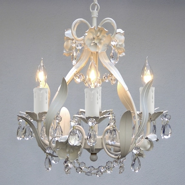 Gallery Mini 4 Light White Floral Crystal Chandelier – Free Shipping With Newest White And Crystal Chandeliers (Gallery 7 of 10)