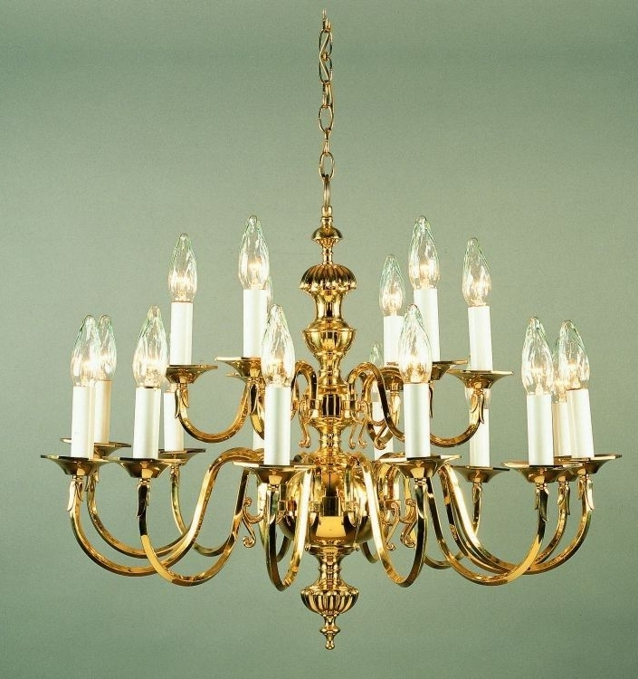 Georgian Cast Brass Chandelier – 18 Light (Gallery 5 of 10)