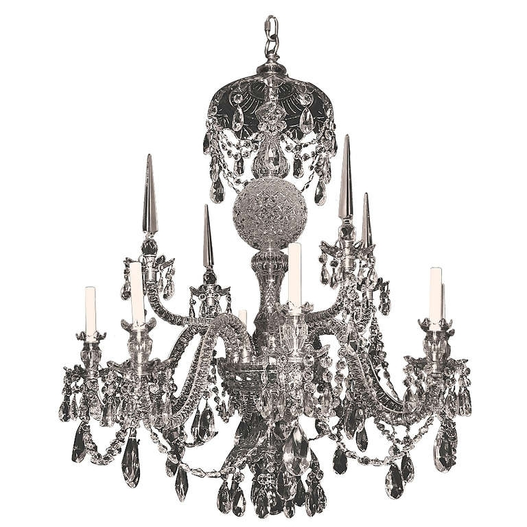 Georgian Style Cut Crystal Eight Light Chandelier (View 3 of 10)