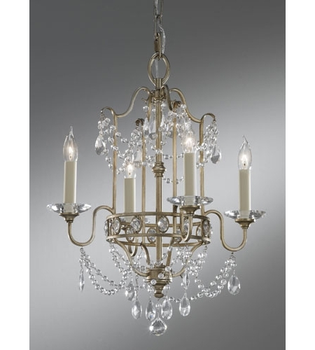 Gianna Mini Chandeliers Regarding Latest Feiss F2476/4gs Gianna 4 Light 16 Inch Gilded Silver Mini Chandelier (View 4 of 10)