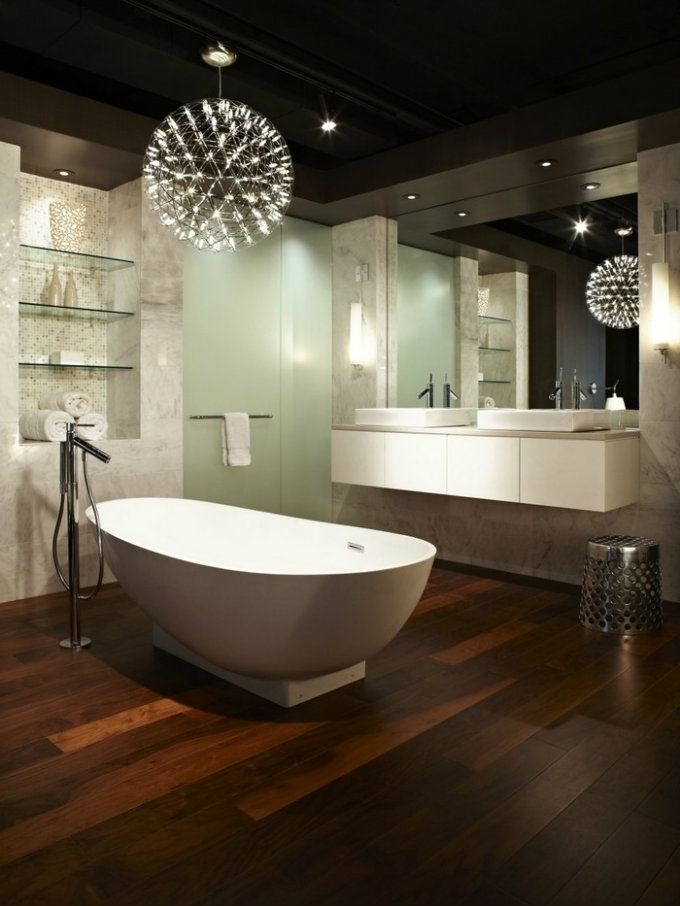 Glamorous 90+ Modern Bathroom Chandelier Lighting Design Ideas Of In Most Recently Released Modern Bathroom Chandeliers (View 6 of 10)