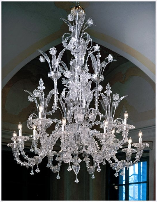Glass Chandeliers For Most Up To Date Murano Ca Rezzonico 7061K8+4 Style Chandeliers In Clear Glass With (Gallery 7 of 10)