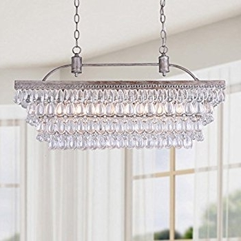 Glass Droplet Chandelier For Current Antique Silver 6 Light Rectangular Glass Droplets Chandelier (View 3 of 10)