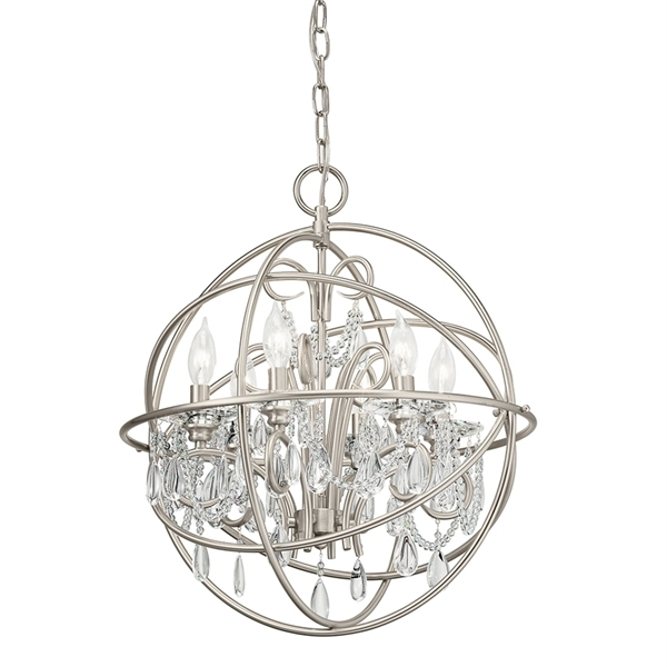 Globe Chandeliers Within Widely Used Kichler Vivian 19.02 In 5 Light Brushed Nickel Hardwired Clear Glass (Gallery 8 of 10)