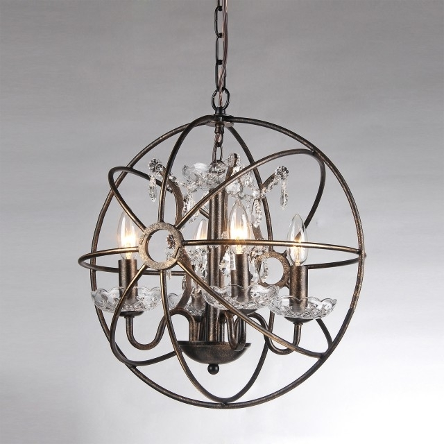 Globe Crystal Chandelier With Regard To Most Current 4 Light Antique Bronze Sphere Cage Crystal Chandelier Globe Fixture (View 6 of 10)