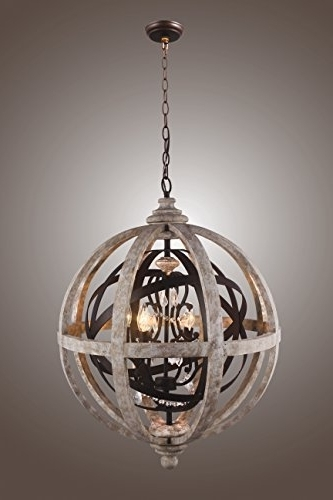 Globe Orb Sphere Chandelier Wood Metal Frame Crystal Pendant Lamp Lustre Pertaining To Most Recent Sphere Chandelier (Gallery 10 of 10)