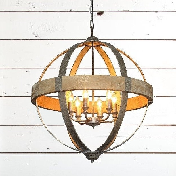 Globe Pendant Antique Farmhouse In Well Known Metal Sphere Chandelier (View 8 of 10)