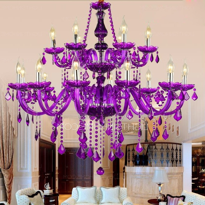 Gorgeous 18 Light Hanging Purple Crystal Chandelier Foyer Throughout 2017 Purple Crystal Chandelier Lighting (Gallery 10 of 10)