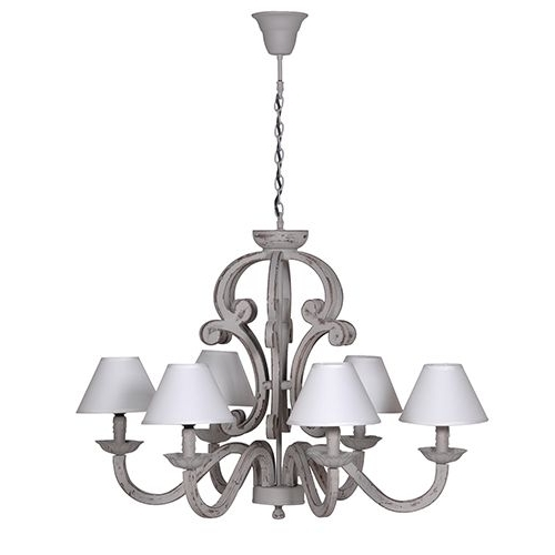 Grey Chandeliers With Regard To Most Popular Grey 6 Branch Chandelier With Cream Shades (Gallery 6 of 10)