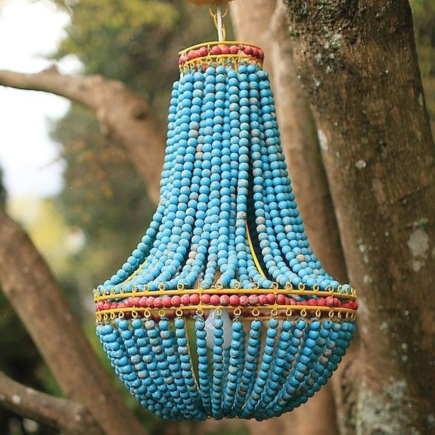 Hanging Light Fixtures, Beaded Throughout Well Known Turquoise Beaded Chandelier Light Fixtures (Gallery 3 of 10)