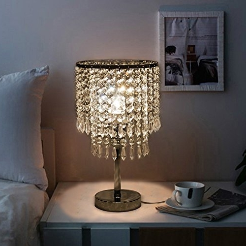 Hile Lighting Ku300085 Chrome Round Crystal Chandelier Bedroom Intended For Most Recent Chandelier Night Stand Lamps (View 8 of 10)