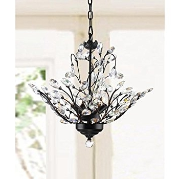 Holly 4 Light Antique Copper Crystal Leaves Chandelier – – Amazon Inside Most Recently Released Crystal Branch Chandelier (View 7 of 10)