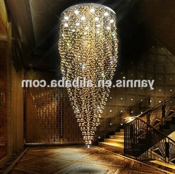 Hotel Chandelier Pertaining To Best And Newest Large Contemporary Hotel Lobby Hall Ballroom Long Height K9 Crystal (Gallery 7 of 10)