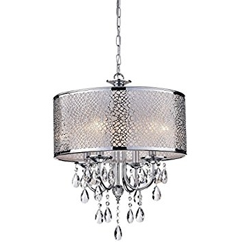 Indoor 4 Light Chrome/ Crystal/ White Shades Chandelier – – Amazon Throughout 2018 4 Light Chrome Crystal Chandeliers (Gallery 4 of 10)