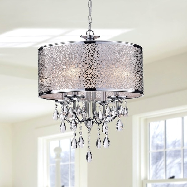 Indoor 4 Light Chrome/ Crystal/ White Shades Chandelier – Free Regarding Most Recently Released 4 Light Chrome Crystal Chandeliers (View 6 of 10)