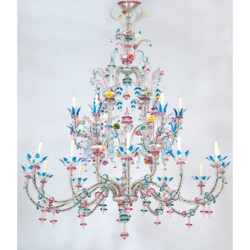Italian Chandelier Style Intended For 2018 Italian Venetian Murano Glass Ca' Rezzonico Chandelier Galliano (View 7 of 10)