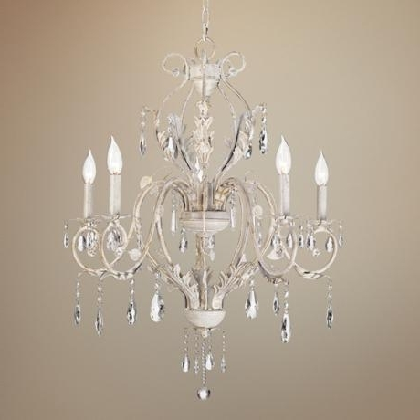 Kathy Ireland Devon 5 Light Antique White Crystal Chandelier Inside Well Known White And Crystal Chandeliers (View 5 of 10)