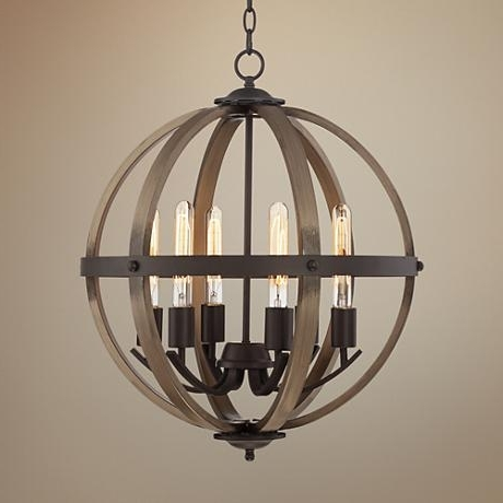 "Kimpton 6 Light 21"" Wide Dark Bronze And Wood Orb Chandelier Within Newest Orb Chandelier (Gallery 10 of 10)"
