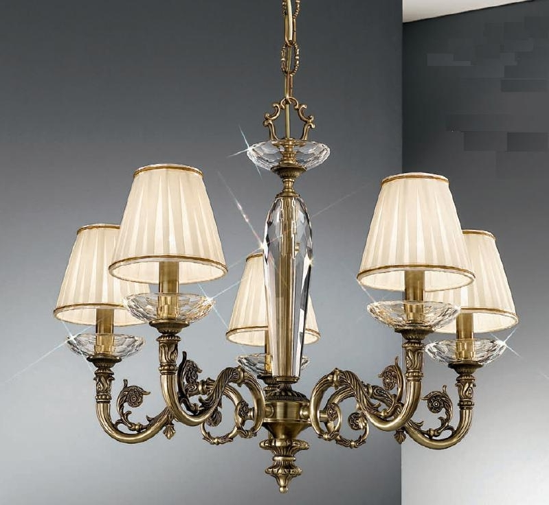Lampshades For Chandeliers Throughout Most Recent Kolarz Contarini 5 Light Antique Brass Chandelier With Shades (View 9 of 10)