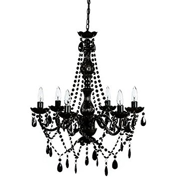 Large Black Chandelier In Most Up To Date All Jet Black Chandelier Lighting Crystal, 17wx13h, 4lts – – Amazon (View 9 of 10)