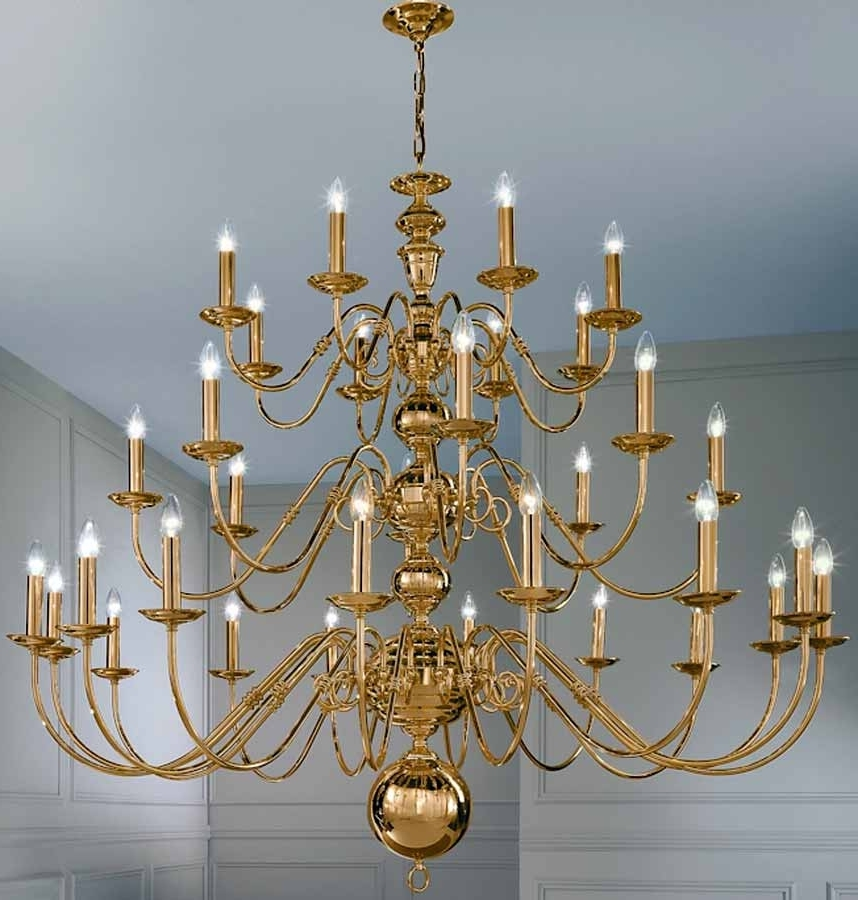 Large Brass Chandelier Pertaining To 2018 Franklite Delft Large Polished Brass 32 Light Flemish Chandelier (View 6 of 10)