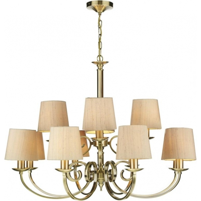 Large Brass Chandelier With Regard To Most Current Antique Brass 12 Light Chandelier With Taupe Silk Fabric Shades (View 7 of 10)