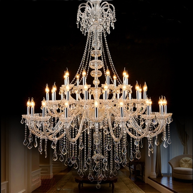 Large Chandeliers Intended For Well Known Maria Theresa Crystal Chandeliers Foryer White Large Chandelier (View 3 of 10)