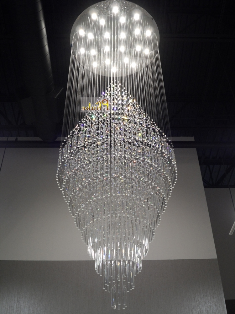 Large Chandeliers Regarding Popular Duplex Building Stair Crystal Chandelier Villa Foyer Shopping Mall (View 1 of 10)