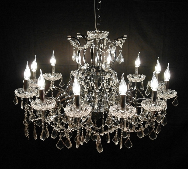 Large Glass Chandelier With Regard To Newest Large 12 Branch Arm Chrome Shallow Cut Glass Chandelier Furniture (View 6 of 10)
