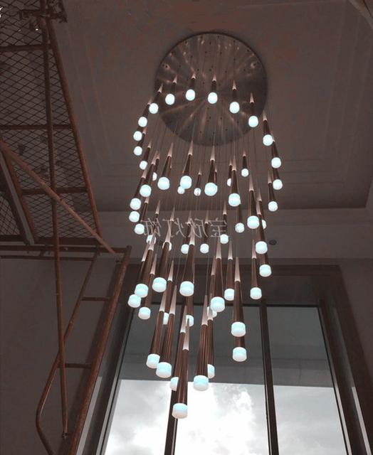 Large Stairwell Led Cone Chandelier Lighting H3 5M Penthouse Helical Intended For Most Up To Date Stairwell Chandeliers (View 3 of 10)