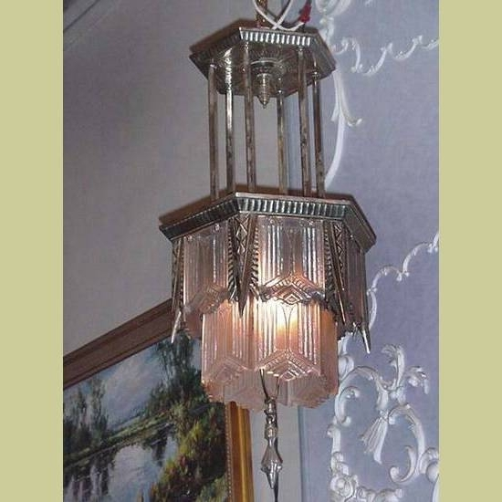 Large Vintage Silver Plate Tiered Art Deco Chandelier With In Widely Used Large Art Deco Chandelier (View 6 of 10)