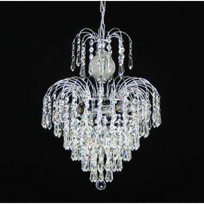 "Latest 4 Light – 13"" Asfour Lead Crystal 24Ct Gold Plated Waterfall Within Waterfall Crystal Chandelier (View 4 of 10)"