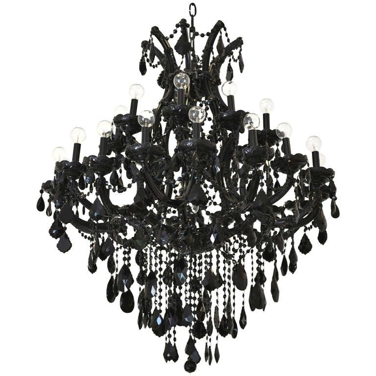 Latest Black Glass Chandelier Within Black Glass Maria Theresa Style Chandelier At 1Stdibs (View 6 of 10)