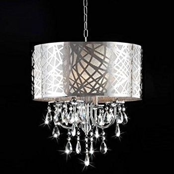Latest Chrome And Crystal Chandelier Regarding 4 Light Chrome Crystal Chandelier – – Amazon (View 8 of 10)