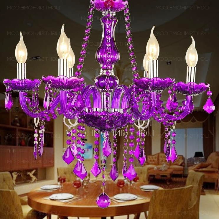 Latest Classic 6 Light Candle Like Purple Crystal Chandelier For Living Room Pertaining To Purple Crystal Chandelier Lighting (View 6 of 10)