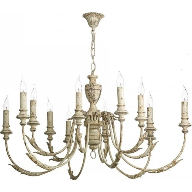 Latest Cream Chandelier For Large Distressed Cream Painted Chandelier In Rustic French Styling (View 9 of 10)