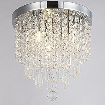 Latest Flush Chandelier Within Zeefo Crystal Chandeliers, Modern Pendant Flush Mount Ceiling Light (View 5 of 10)