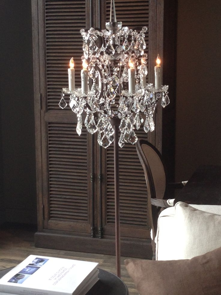 Latest Free Standing Chandelier Lamps With Home Design : Marvelous Floor Standing Chandelier Lamp Black Home (View 6 of 10)