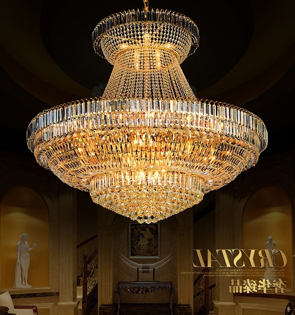 Latest Led Modern Gold Crystal Chandeliers Lights Fixture Round Crystal For Big Chandeliers (View 7 of 10)