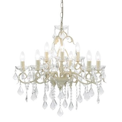 Latest Litecraft Romeo 9 Light Cream And Gold Chandelier  At Debenhams Pertaining To Cream Crystal Chandelier (View 5 of 10)
